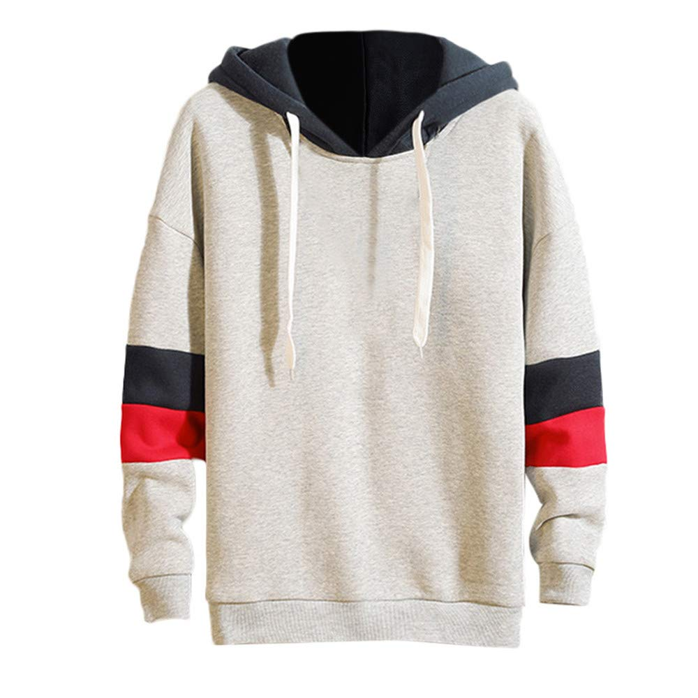 Patchwork Hoodies for Men, Corriee Mens Fashion Long Sleeve Party Pullover Sweatshirts Fall Casual Loose Hooded Tops