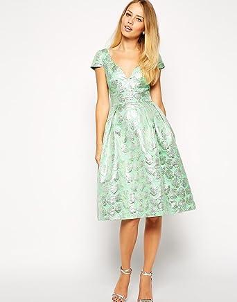 ASOS Deep Plunge Metallic Prom Dress in green UK 12
