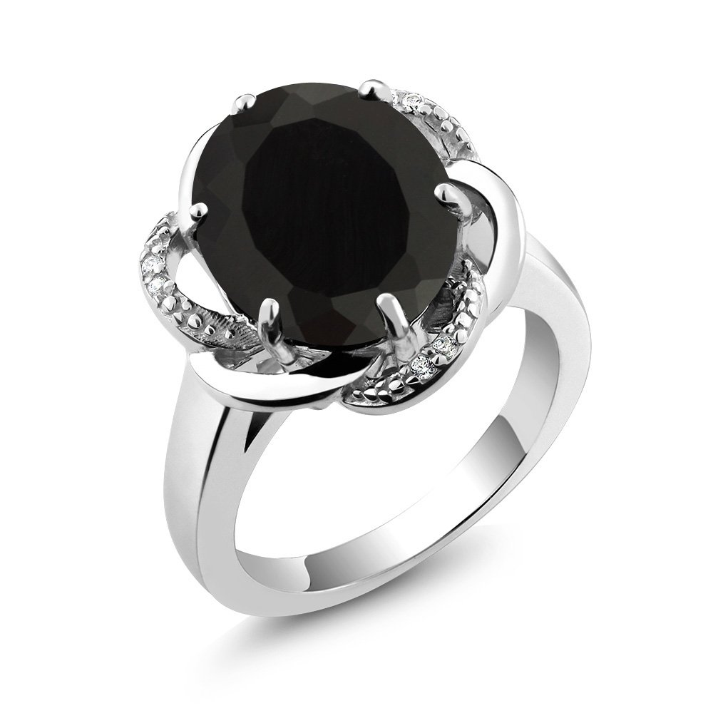 Gem Stone King Black Onyx 925 Sterling Silver Womens Ring 4.07 Ctw Oval Available 5,6,7,8,9