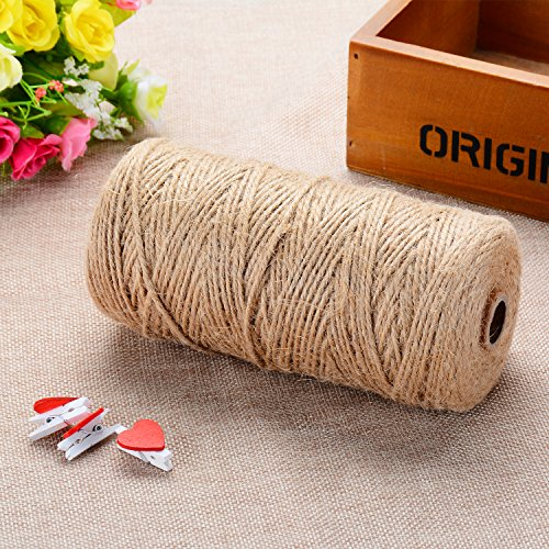 656Feet Natural Jute Twine and 24Pcs Mini Wooden Craft Pegs Pins, 3Ply Industrial Packing Materials for Gift ,Decoration, Arts and Crafts Christmas twine Durable String for Gardening Applications -