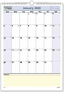 "AT-A-GLANCE 2020 Monthly Wall Calendar, QuickNotes, 12"" x 17"", Medium, Wirebound (PM5228)"