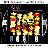 Barbecue Skewers + Shish Kabob Set - BBQ Kebab Rack Maker for Meat & Vegetable - Portable Stainless Steel Kabab Stick for Cooking on Gas or Charcoal Grill - 180 Degree Rotisserie