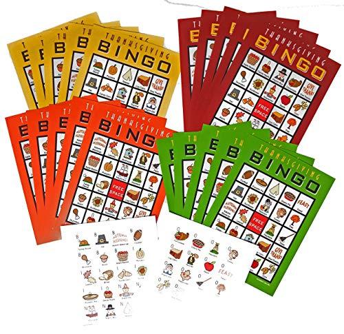 北東の収穫 感謝祭 パーティー ゲーム ビンゴカード 20人