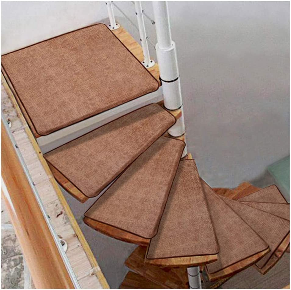vidaXL 15x Self-adhesive Stair Mats Carpet Staircase Tread Floor Step Rug Protection Cover Pad Non Slip Home Decor Brown Needle Punch