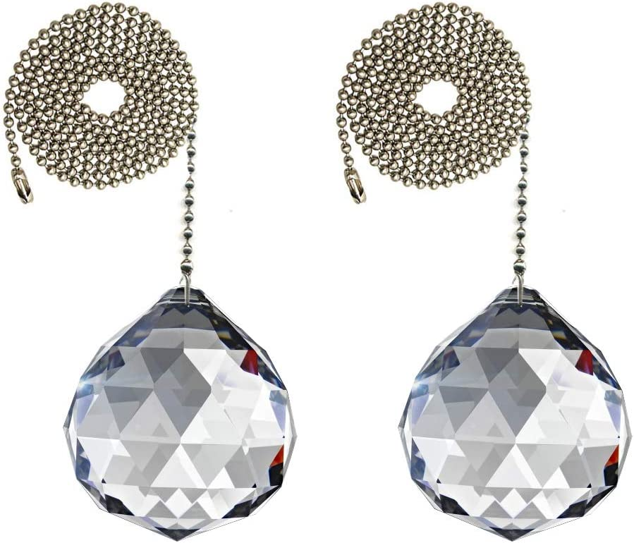 Magnificent Crystal 30mm Clear Crystal Ball Prism 2 Pieces Dazzling Crystal Ceiling Fan Pull Chains
