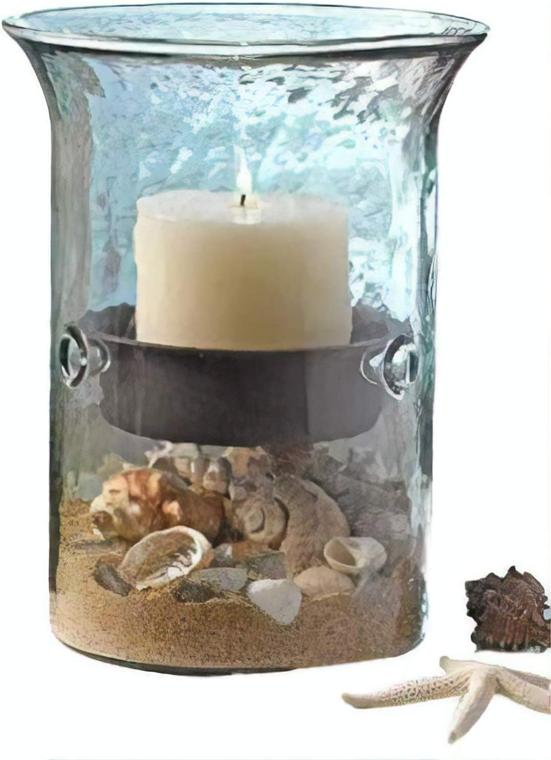 First of a Kind Glass Hurricane Pillar Candle Holder with Rustic Metal Insert, Perfect as a Centerpiece (Medium)