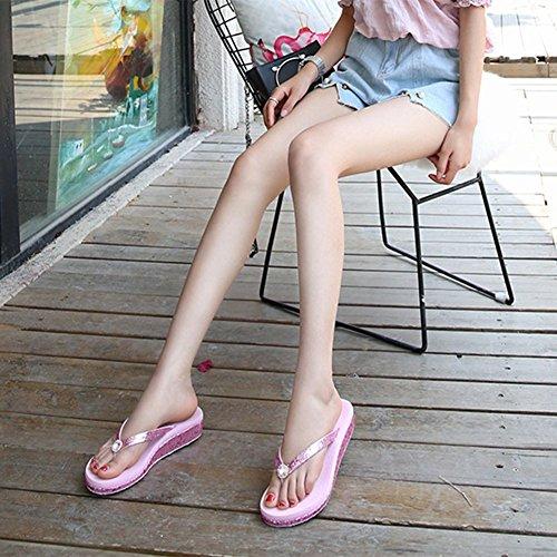 Strass Pink Infradito Cancellare Cuneo Brillante Sandali Da Con Piattaforma Gomma Con Black Antiscivolo Spiaggia Estate Scarpe Donne 35 Pendenza wtAUqd8A