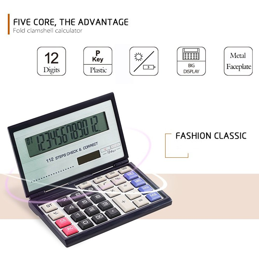Amazon.com : Business /Financial/ student / Folding Calculator with 12-digits  Large Display, Solar and AAA Battery Dual Power : Electronics