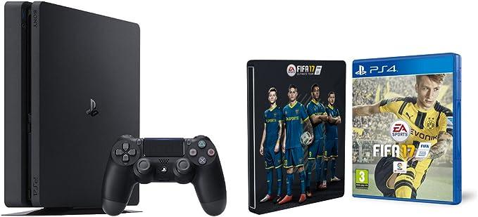 PlayStation 4 Slim (PS4) 1TB - Consola + FIFA 17 + Steelbook ...