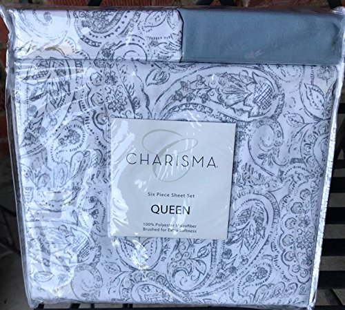 NY Holdings Queen Microfiber Blue Gray Vintage Paisley pattern 6 piece Sheet set for deep - Bed Queen Vintage Sheets