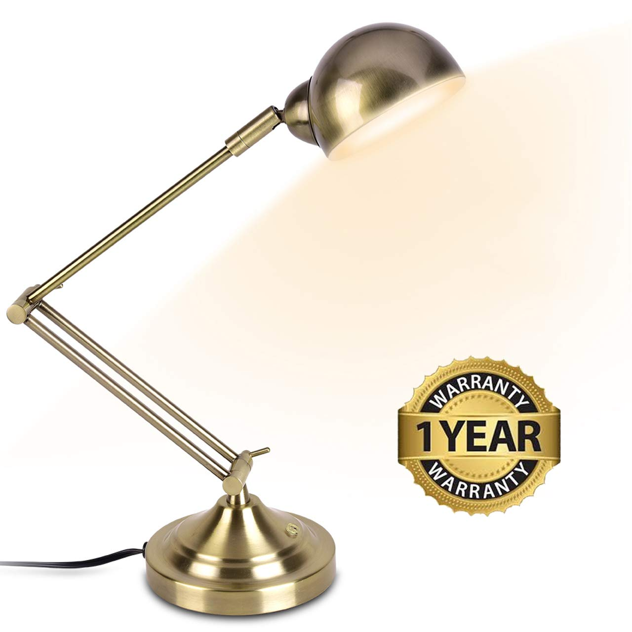 LED Desk Lamp - Brass Desk Lamps, 7W Energy-Saving, 350° Adjustable Arm, Eye-Caring, Touch Control, Vintage Antique Table Lamps, Dimmable Gold Desk Lamp for Office, Work, Reading, Study by SUNLLIPE
