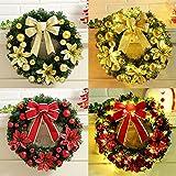 elegantstunning Christmas Wreath Hanging Garland Festival Home Decor,40cm,Gold Bow(with Light)