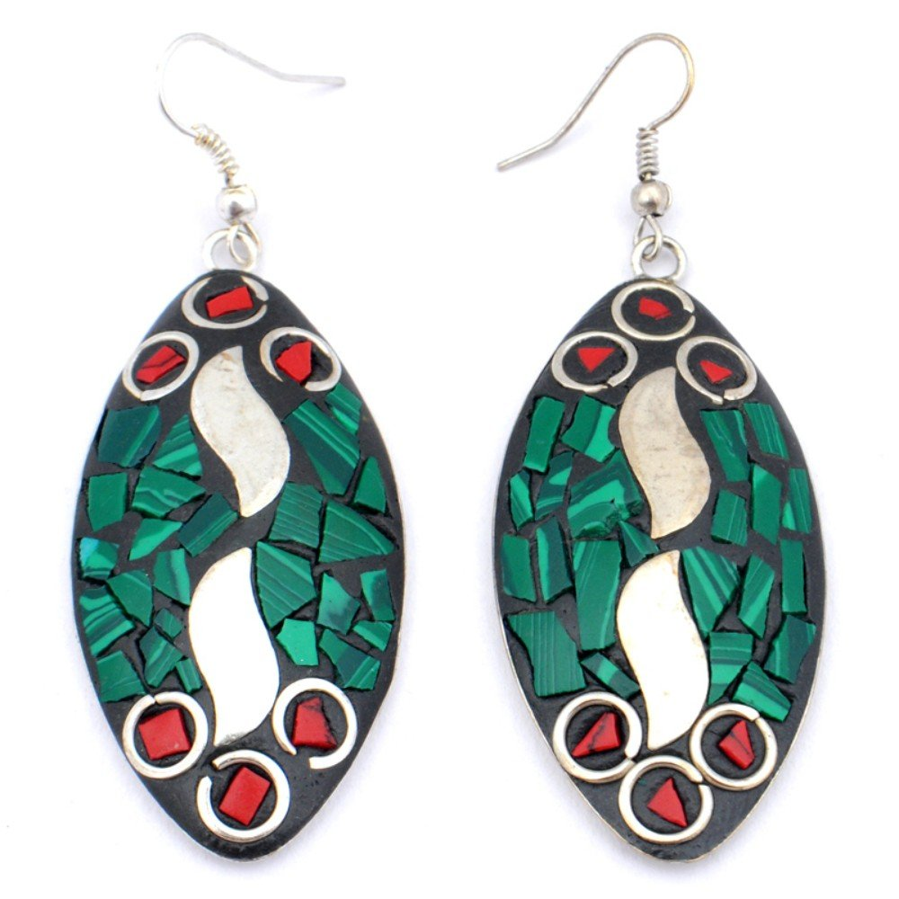 Green Malachite Red Coral Sterling Silver Overlay Earring 2.25 Nepali Work Handmade Jewelry