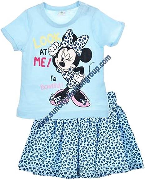 Conjunto falda y camiseta bebé Minnie rosa y azul de 6 a 23 meses ...