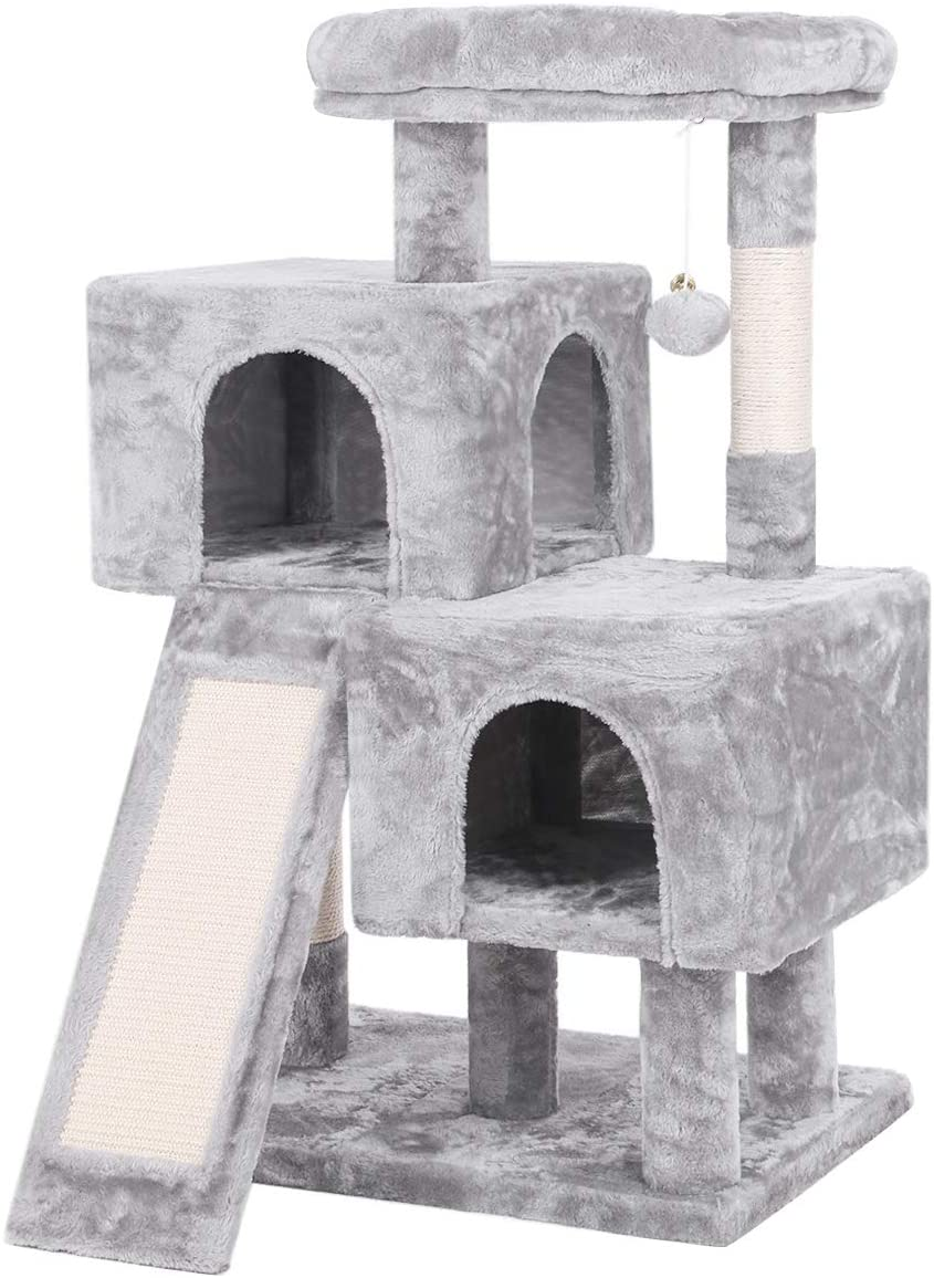 BEWISHOME Cat Tree Condo with Sisal Scratching Posts, Scratching Board, Plush Perch and Dual Houses, Cat Tower Furniture Kitty Activity Center Kitten Play House