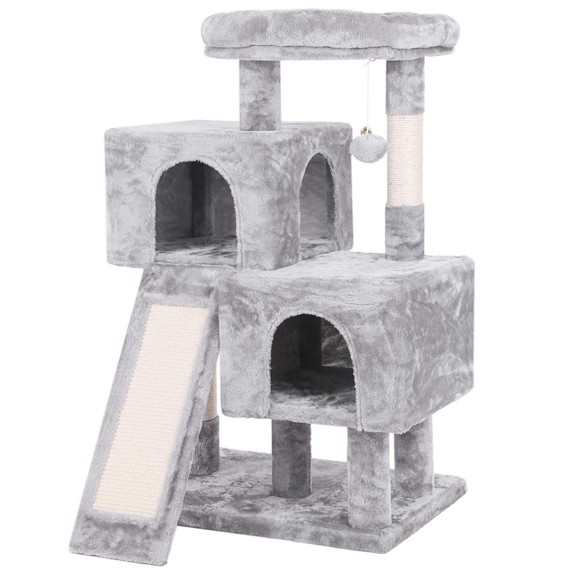 BEWISHOME Cat Tree Condo with Sisal Scratching Posts, Scratching Board, Plush Perch and Dual Houses, Cat Tower Furniture Kitty Activity Center Kitten Play House, Light Grey MMJ10G by BEWISHOME