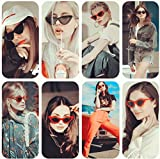 Retro Cat Eye Sunglasses for Women Vintage Mod Narrow Plastic Frame UV protection Red Black 2 Pack