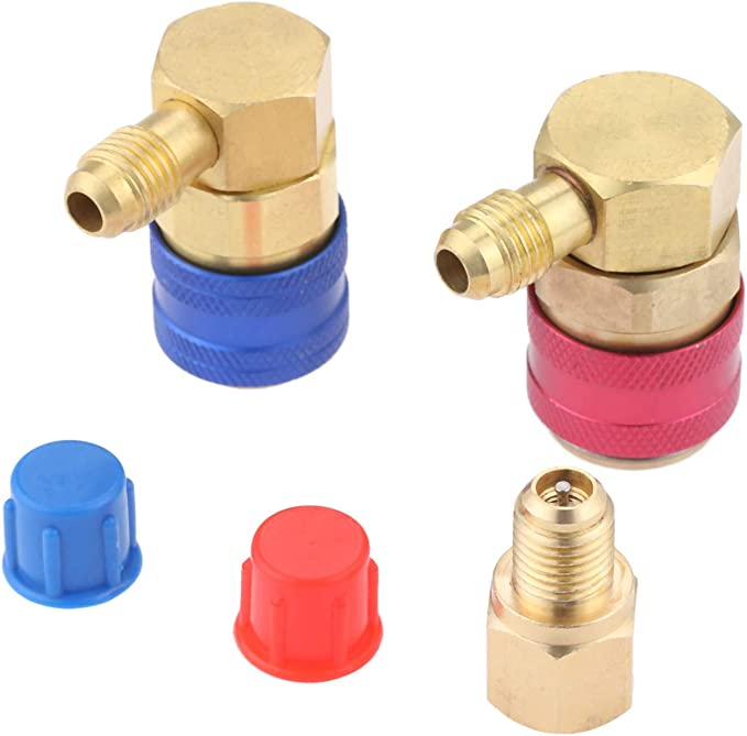 Maslin A Pair R134 A//C Low//High Quick Connector Air Conditioning Coupler Adapter with Cap Brass Blue//Red 14mm//17mm Inner Diamete