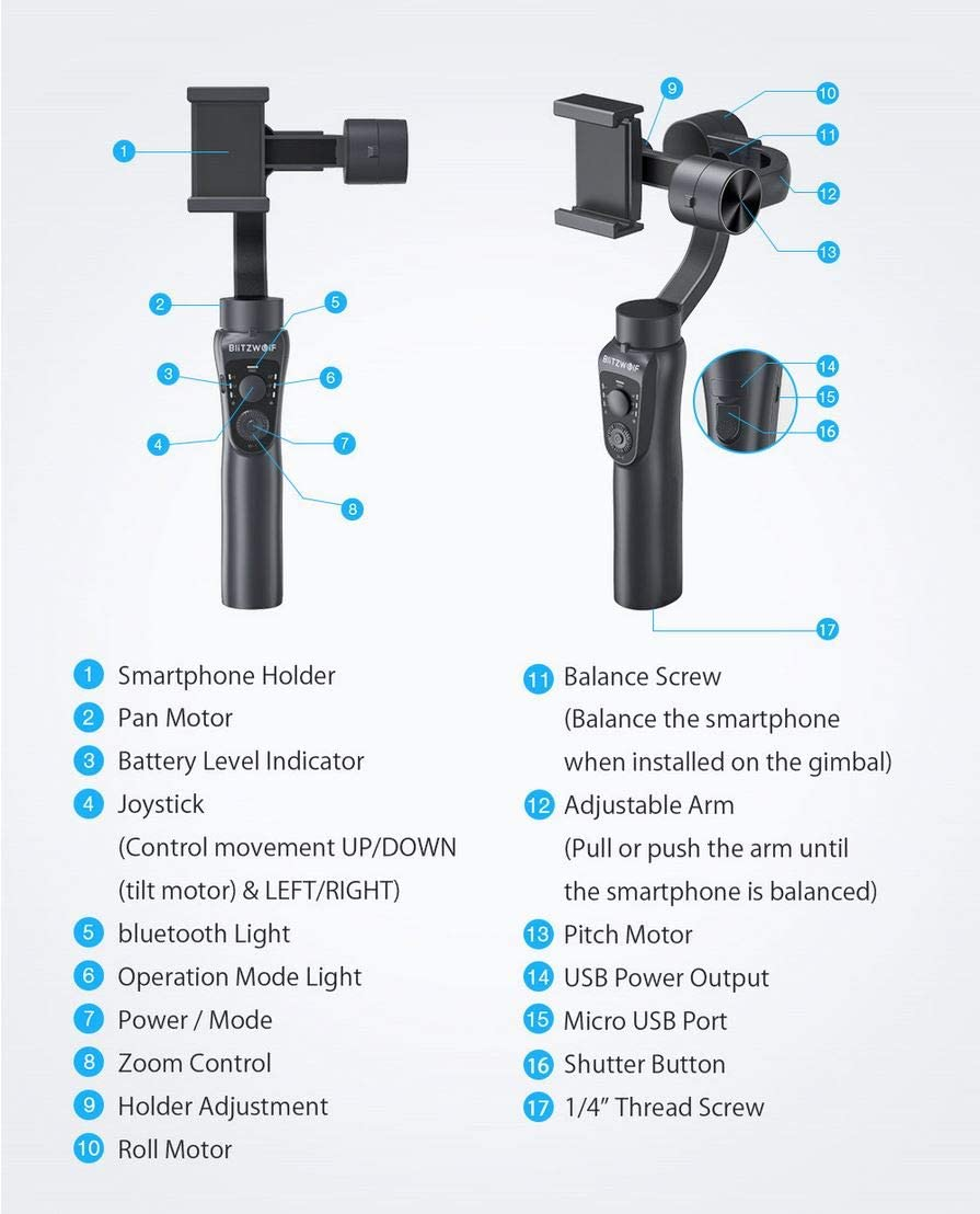 BlitzWolf BW-BS14 Bluetooth 3-Axis Gimbal Stabilizer with Three Adjustable Modes for Mobile Phones Black
