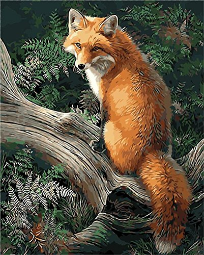 CaptainCrafts New Paint by Numbers 16x20 for Adults Beginner Children, Kids LINEN Canvas - Forest Animal Gold Fox (Frameless) (Paint By Number Advanced)