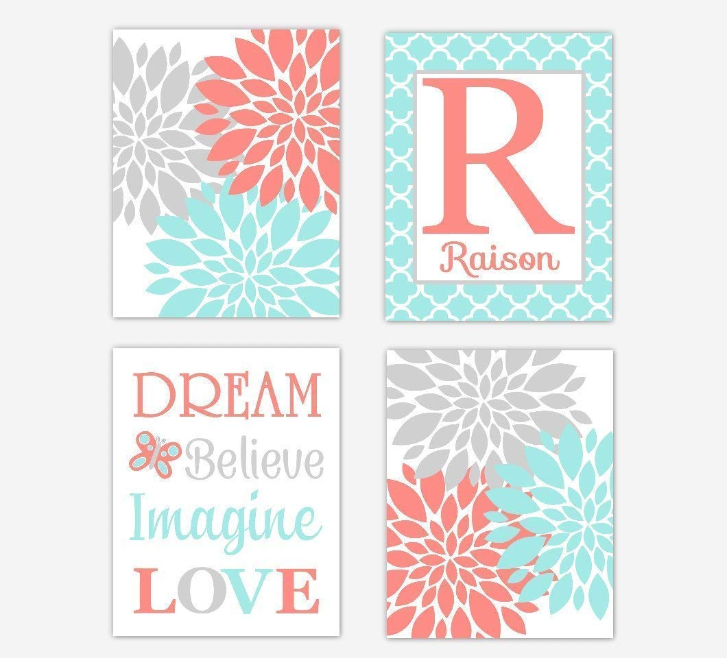 Coral Teal Flower Dahlia Floral Wall Art Girl Room Wall Decor Floral Prints Personalize Name Art Baby Nursery Decor 4 UNFRAMED PRINTS
