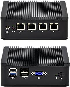 Qotom 4 LAN Mini PC Q190G4U-S02 with 4GB RAM 64GB SSD, Intel Celeron J1900 Processor, Quad core 2.0 GHz, x86 Mini PC Fanless