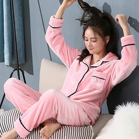 JYLW Pijamas Invierno Mujer Más El Tamaño del Pijama Cálido ...