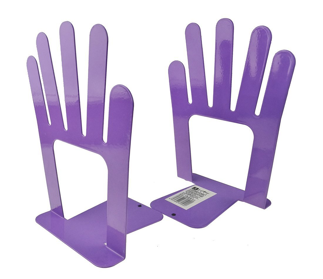 Y-H One Pair Metal Hand Bookends Art Bookend Library School Office Home Study Metal Bookends Book End (Purple)