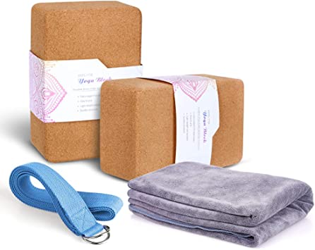 Amazon Com Arltb Yoga Blocks 2 Pack Cork Yoga Brick 9 X6 X4 With Metal D Ring Yoga Strap Eco Friendly Eva Foam Exercise Blocks Set Provides Stability And Balance Eva Foam Cork Yoga Towel