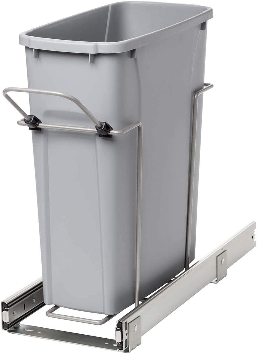 Knape & Vogt RS-PSW9-1-20-P 17 in. H x 8 in. W x D Steel in-Cabinet 20 Qt. Single Platinum Pull Out Trash Can