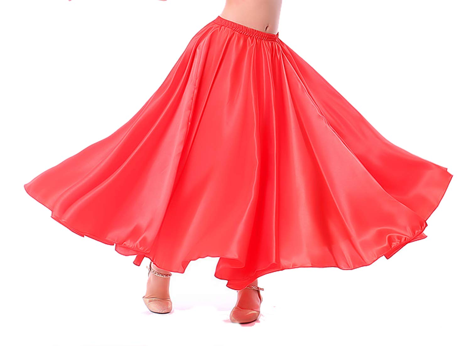 Lauthen.S Kids Gilrs Skirt for Belly Dance/Performance/Halloween Party, Satin Full Circle Tribal Skirt(Red,M) by Lauthen.S