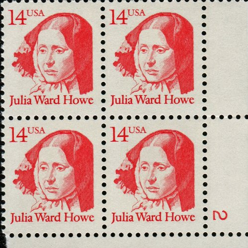 Womens Stamp Series - JULIA WARD HOWE ~ BATTLE HYMN OF THE REPUBLIC ~ BLACK HISTORY ~ ABOLITION ~ WOMAN SUFFRAGE ~ MOTHER'S DAY ~ GREAT AMERICAN SERIES #2176 Plate Block of 4 x 14¢ US Postage Stamps