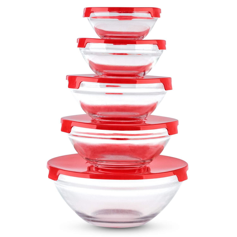 Ryori Kitchen 5pc Stackable Glass Food Storage Bowl Set with Lids - Microwave Dishwasher Freezer Safe (Blue) SA Products