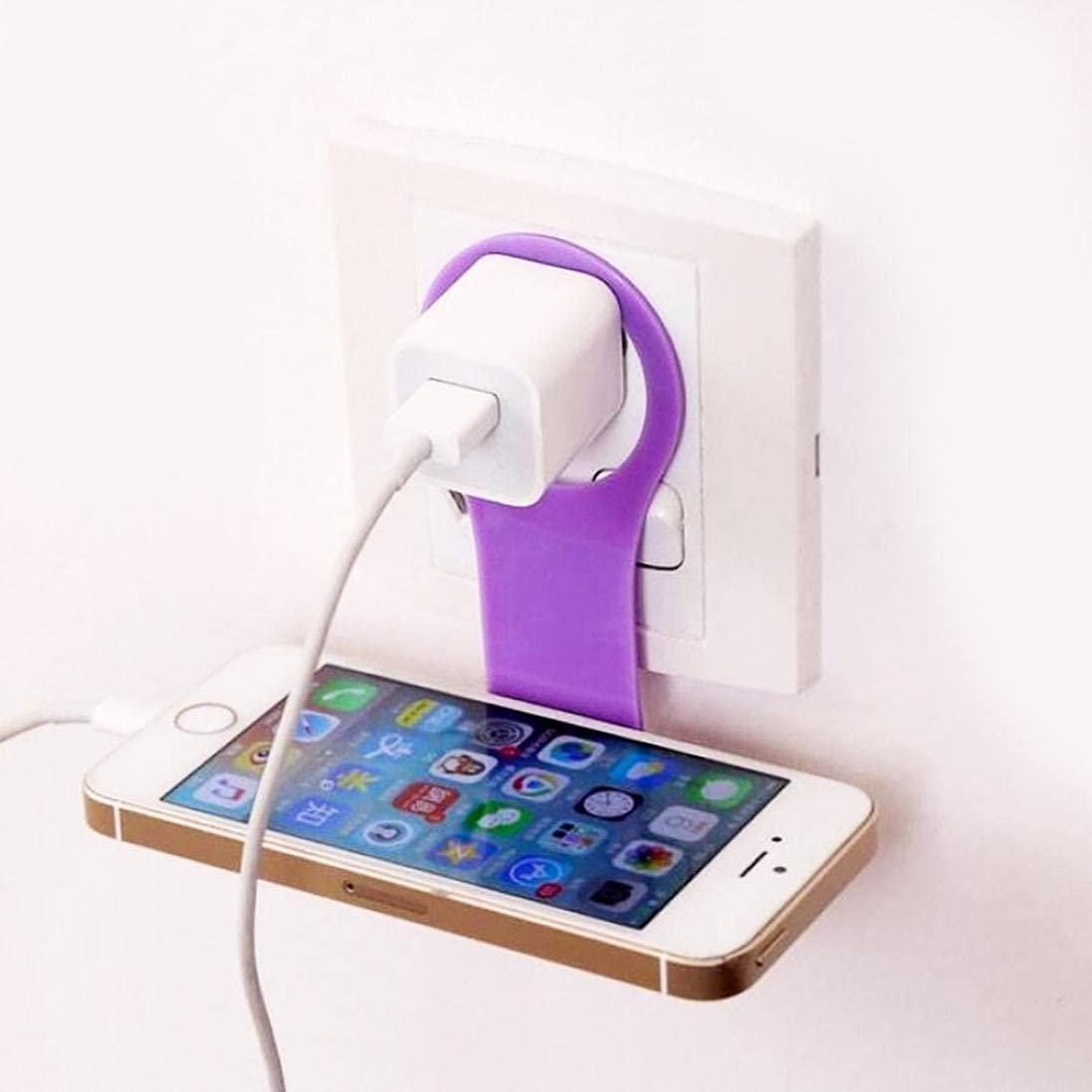Foldable Cell Phone Wall Charger Hanger Cradle Phone Holder Universal Holder Clip Phone Hold Accessories Desk for iPhone,Samsung,Other Smartphone 2Pcs Universal Cell Phone Stand Random
