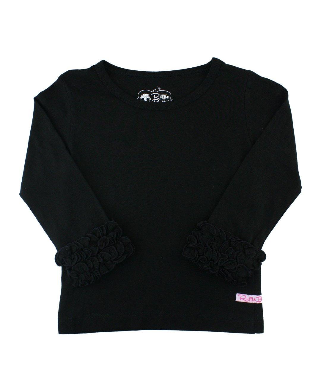 RuffleButts Girls Black Ruffled Long Sleeve Layering Tee - 8
