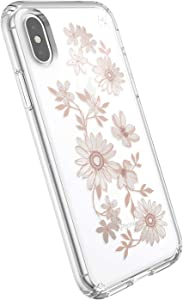 Speck Products Presidio Clear + Print iPhone Xs/iPhone X Case, FairytaleFloral Peach Gold/Clear