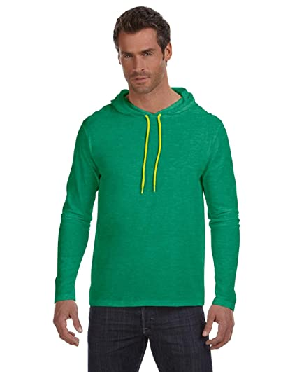 eb6186511 Image Unavailable. Image not available for. Color: Anvil Adult Lightweight  Long-Sleeve Hooded Tee ...