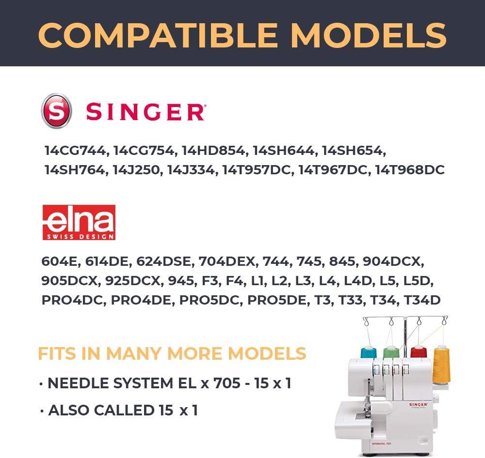 Pack de 10 Agujas Singer 2022 (501R - 502R) para Overlock Singer 14SH, 14CG y otras Grosores 80/12 y 90/12 ELx705 15x1: Amazon.es: Hogar