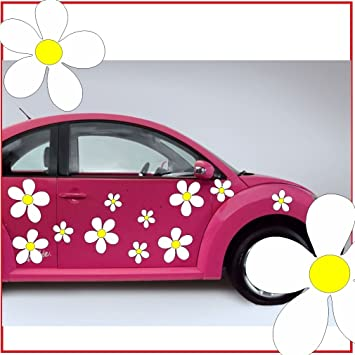 10 small daisy flower sticker vinyl car stickers flowers small set with 10 psc