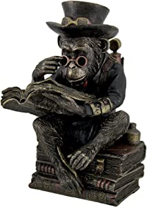 Veronese Resin Statues Hand Painted Steampunk Scholar Chimpanzee Fantasy Statue 5 X 7.5 X 4.5 Inches Brown