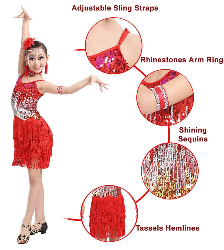 Robe de Bal Pompon Paillette sans Manches Costume de Danse pour Les Enfants de 4 /à 15 Ans Jonact Filles Robe de Danse pour Latin Tango