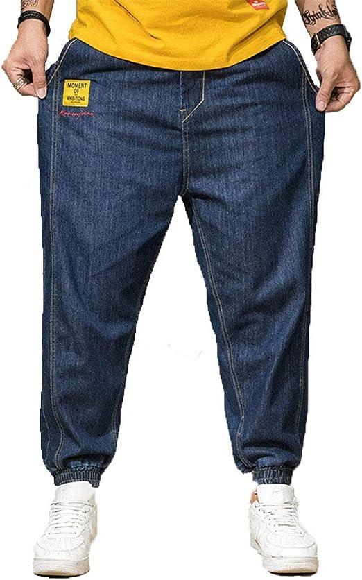 メンズジーンズパンツバギーデニムハーレムパンツ男性ルーズクロッチジーンズヒップホップストリートパンツプラスサイズジョガーズストリート,ブルー,44/6XL
