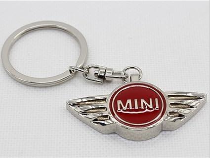 Estiloso y sólido llavero Mini Cooper cromado, color rojo ...