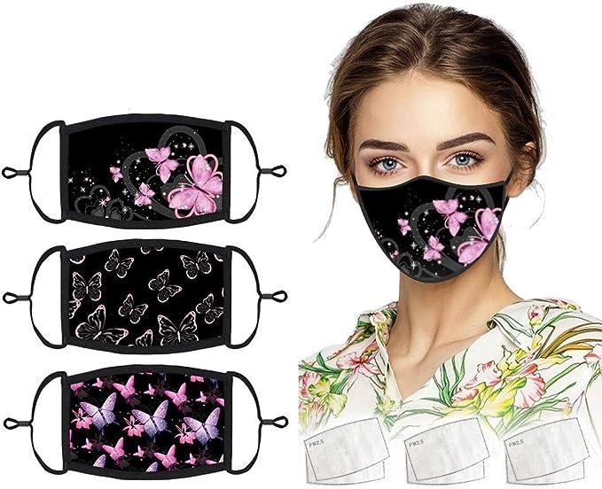 Imagen deMrTom 3PCS Mujer 𝐌𝐚𝐬𝐜𝐚𝐫𝐢𝐥𝐥𝐚𝐬 de Tela Reutilizables y Lavables con 6PC Filter - Orejeras Ajustables, Negras, Mariposa