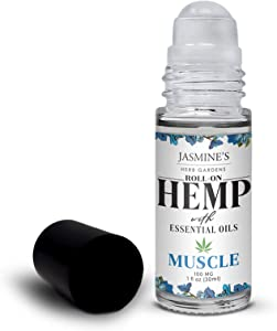 Jasmine's Herb Garden Sore Muscle Massage Oil Blend with Hemp Extract for Body - Soothes Tired & Sore Muscles, Roll-on Applicator, 1 fl oz