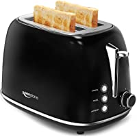 Toaster 2 Slice, Stainless Steel Retro Toaster with Wide Slots, Bagel/Defrost/Cancel Function, Removable Tray, Black