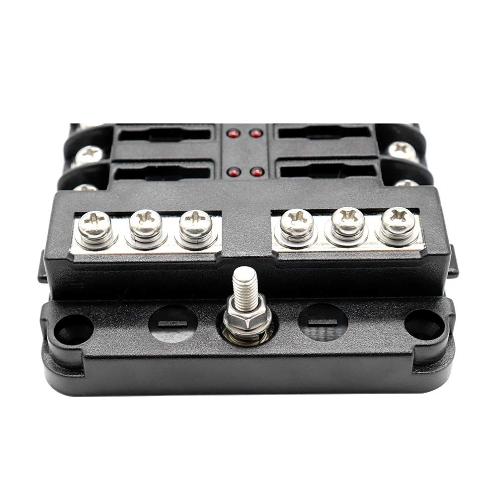 TOOGOO DC 12-32V Truck Motorhome Boat Bus Bar Power Distribution Block Double Busbars 6-Way Fuse Box With Led Lights 100Amp