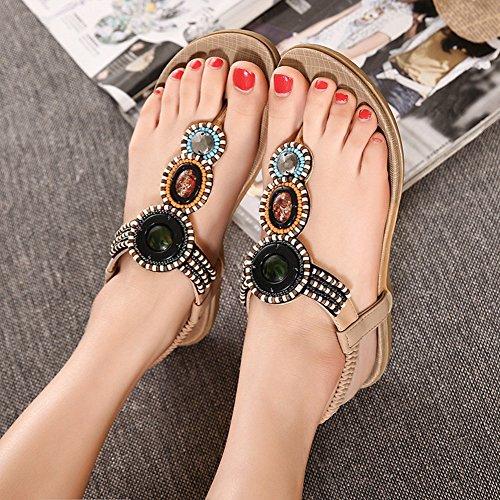 strap T Flat Sandals Bohemia Apricot Beach Sandals Women Btrada Beades qXYTTU