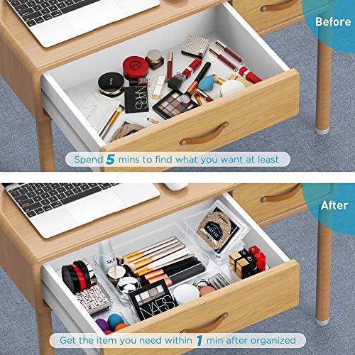 Kootek 21 Pcs Desk Drawer Organizer Trays 4-Size Bathroom Drawer Tray Plastic Storage Organizers Bins Customize Layout Dividers for Cosmetic Makeup Dresser Kitchen Flatware Cutlery Office Accessories 61rg7tYBeBL