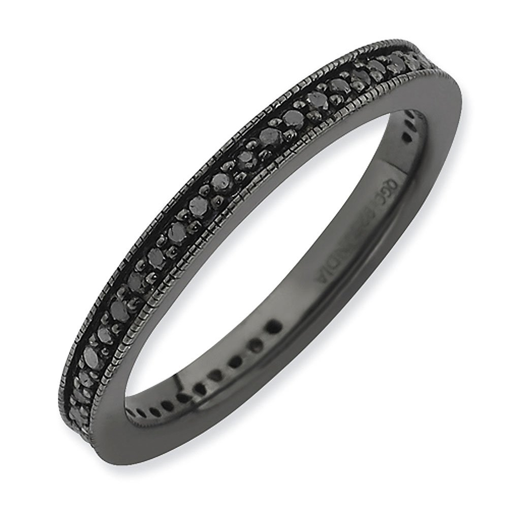 2.5mm Black Rhodium Plated Sterling Silver with Black Diamonds Eternity Wedding Ring Band - Size 8